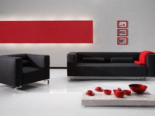 Meble w kolorach czerni i czerwieni.