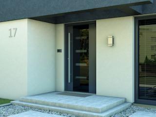 Drzwi zewnętrzne ze złotym połyskiem.