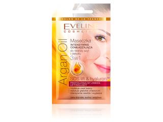 Maseczka INTENSYWNIE ODMŁADZAJĄCA do twarzy, szyi i dekoltu 3 w 1 Argan Oil Eveline Cosmetics.