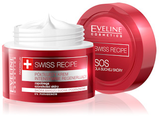 Półtłusty krem intensywnie regenerujący do każdego rodzaju skóry z linii SWISS RECIPE marki Eveline.