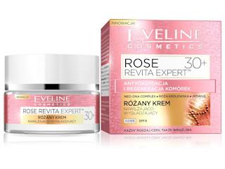 Różany krem nawilżająco-wygładzający 30+ z serii ROSE REVITA EXPERT™ Eveline Cosmetics.