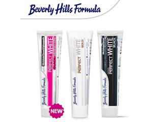 Węgiel i złoto dla bieli i zdrowia zębów z pastami Beverly Hills Formula.