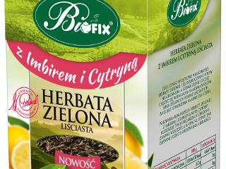 Herbata zielona Bifix z imbirem i cytryna.