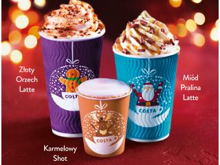Oferta świątecznych kaw w Costa Coffee.