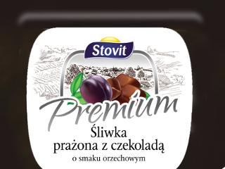 Śliwka prażona z czekoladą o smaku orzechowym.